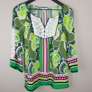 CROWN & IVY Pink Navy Green White Lace Peasant Top